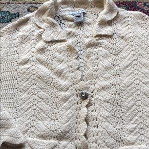 Vintage crochet cotton angora cardigan size small